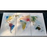 Mapa Mundi Pintado Con Acuarelas 120 X 70 Cms.
