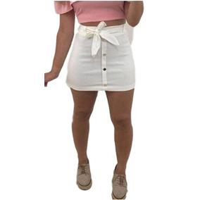 Mini Saia Cintura Alta Laço Botões Bengaline Feminina Moda