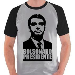 Camiseta Bolsonaro 2018 Presidente Camisa Blusa Raglan Cinza