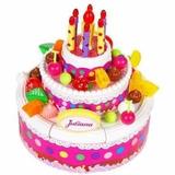 Torta Cumpleaños Juliana Música Luz Bilingue Grande 2 Pisos
