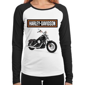 Baby Look Moto Harley Davidson Dyna Street Bob Manga Longa
