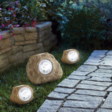 Luces P/jardin Forma Roca 3pz Decorativas Solares Garantia