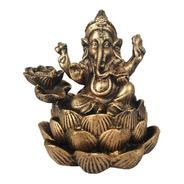 Deus Ganesha Incensario Cachoeira Cascata Hindu Resina Ouro