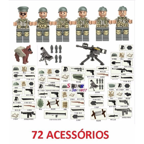 Swat 6 Soldado Bonecos + 72 Armas Compatível Ao Lego - J08b