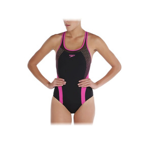Traje De Baño Speedo Fit Body Positioning 809657 Negro Rosa
