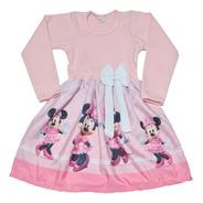 Vestido Infantil Minnie Rosa Inverno Manga Longa Fab2
