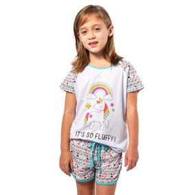 Pijama Unicornio Infantil Feminino Curto E Shorts Unicórnios