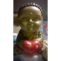 Buda Bebé Yeso, 13 Cm Pintada A Mano Con Decoupage