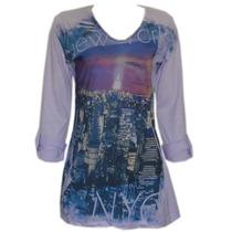 Camiseta Minivest Fem Dec V Mg ¾ Lilás Estampa Tam P Ref1236