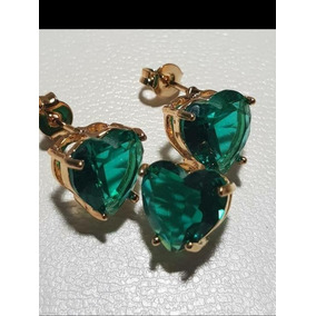 Conjunto Feminino Colar E Brincos De Zirconia Verde Ouro 18