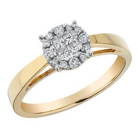 Anel De Noivado De Diamante 1/4 Quilates (ctw) Em 14k Ouro A