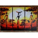 Cuadro Tríptico Africanas Étnico Abstractos Decorativos