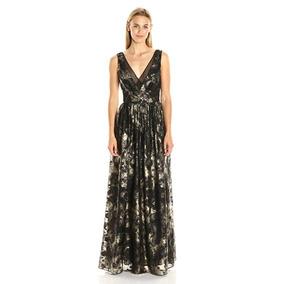 Vera Wang Vestido Largo Seminuevo Negro Con Dorado Talla 10