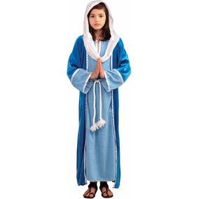 Disfraz De La Virgen María Niña Traje Vestido Navidad Túnica