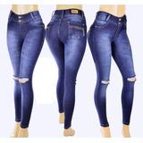 Calça Feminina Cintura Alta Jeans Hot Pants Detalhes Bolso