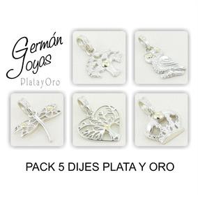 Pack 5 Dijes Plata Y Oro Por Mayor (fabricante)