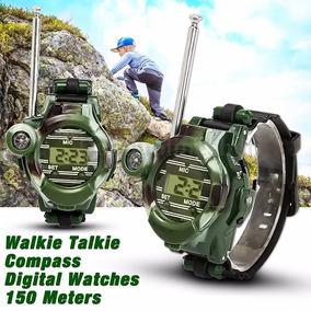 Relógio Walkie-talkie Exercito 7 Funções Kit Com 2 Unidades