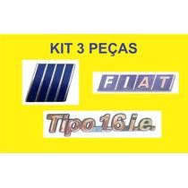 Kit Emblema Tipo 1.6 Ie + Fiat + Logo Grade 3 Peças