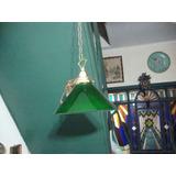 Lampara De Techo Bronce Ypantalla Opalina Verde