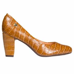 Zapato Mujer Clasico Vizzano Sintetico Marron Reptil