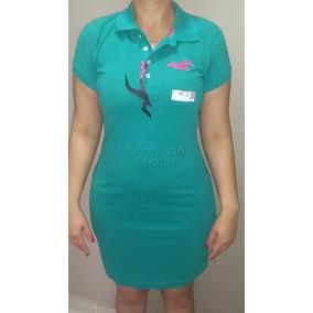 Vestido Verde Gola Polo Feminino Super Oferta