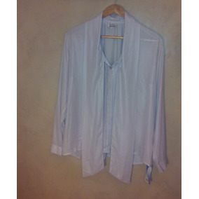 Blusa Camisa Seda Crep Gris Perla Mamy Blue
