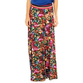 Saia Longa My Place Estampa Floral Multicolorida - Tam: M