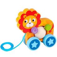 Tooky Toy Brinquedo De Madeira - Leão De Puxar - Tke005
