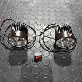 Par Faros 4 Led 12w Auxiliar+switch Moto Auto, 1ra Calidad.