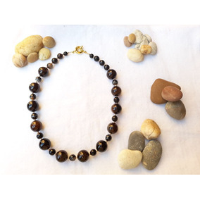 Collar De Obsidiana Piedra Semipreciosa Oro Laminado 14k