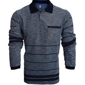 Camisa Polo Com Bolso Pique Manga Longa Várias Cores c289efb1e3178