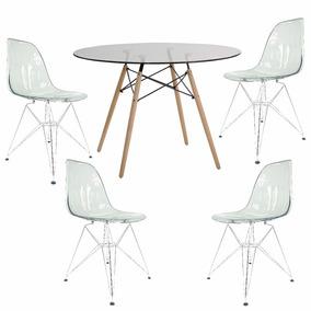Conjunto Mesa 120 Cm 4 Cadeiras Eiffel Pc Base De Metal Fumê