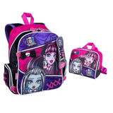 Kit Mochila Monster High Cadarço Costas + Lancheira Sestini
