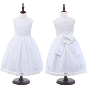 Vestido Blanco Largo D Organza Para Niña Bebe Bodas Bautizos