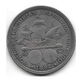 Moneda Estados Unidos Medio Dolar Año 1892 Cristobal Colon