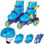 Patins In-line Tri-line Azul 30 A 33 Menino + Acessorios