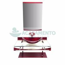 Gabinete Vidro Cuba Oval 70 Cm Vinho + Misturador Vinho