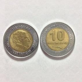 Moeda 10 Pesos Uruguaios, Jose Artigas . Moeda Rara.