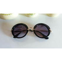 Oculos De Sol Redondo Preto Degradê Gatinho Estilo Miu