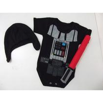 Body Baby Personalizado Uniforme Darth Vader C/ Touca+sabre