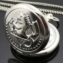 Relógio De Bolso Tom Silver Fullmetal Alchemist Cosplay