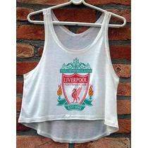 Blusa Cropped Liverpool Futebol Inglaterra Regata Cavada