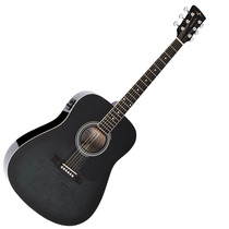 Violão Folk Elétrico Vck 380 Black Maple Flamed - Vogga