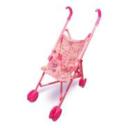 Carrinho Boneca Bebê Brinquedo Infantil Berço Dobrável Rosa