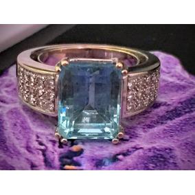 Anel Em Ouro Branco 18k-750 Com Pedra Azul