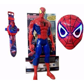 Kit Boneco Máscara Relógio Homem Aranha Spider Man Heróis