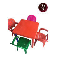 Juego De 4 Sillas + Mesa Infantil Colores Envio Gratis