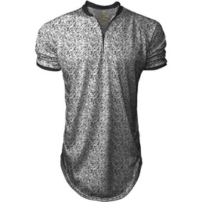 Camisa Longline Masculina Gola Polo Esporte Floral Top
