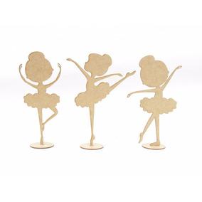 6 Bailarinas Infantil Em Mdf Cru 25cm Lembrancinhas Festas