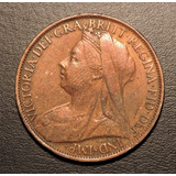 Inglaterra One Penny O 1 Penique 1900 Excelente + Patina Un